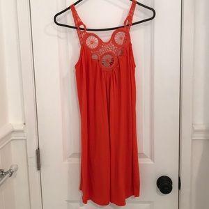 Blood orange summer dress w/ beautiful neckline